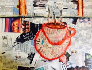 """Over Coffee"" by Brooke Townsend Made using mixed media:  collage of newspaper and magazines from 2002ish, markers and glue."